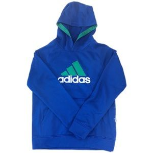 Adidas Blue Boys Hooded Pullover Sweater, Size L